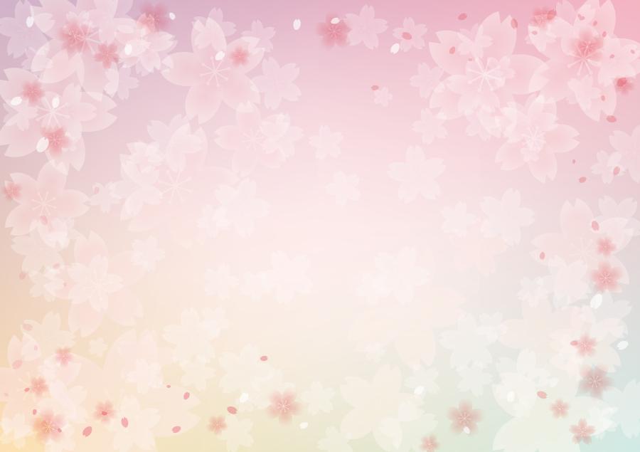 フリーイラスト 桜の花と舞い散る花びらの背景