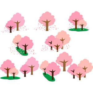 フリーイラスト, ベクター画像, EPS, 自然, 樹木, 花, 桜(サクラ), 春, 桜吹雪