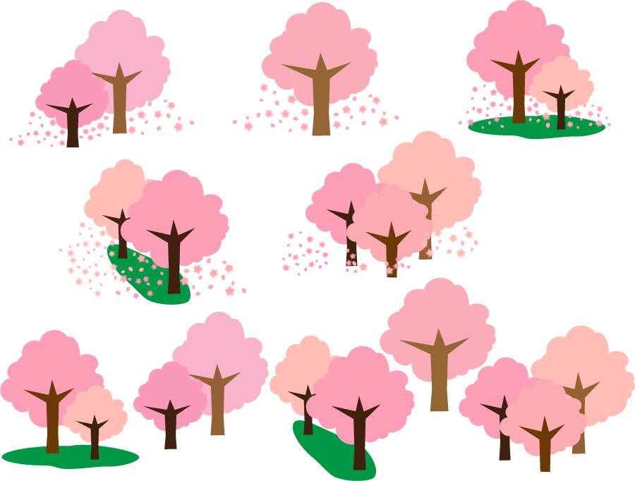 フリーイラスト 10種類の満開の桜の木のセット