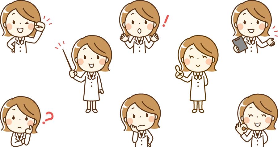 フリーイラスト 8種類の薬剤師の女性のセット
