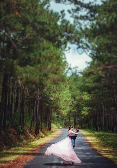 フリー写真 森の道で抱き合う新郎新婦