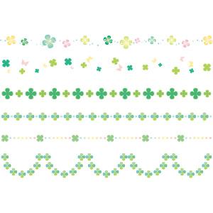 フリーイラスト, ベクター画像, AI, 飾り罫線(ライン), クローバー(シロツメクサ), 四つ葉のクローバー