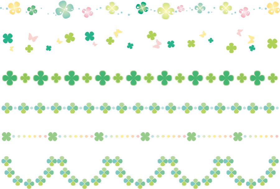 フリーイラスト 6種類の四つ葉のクローバーの飾り罫線