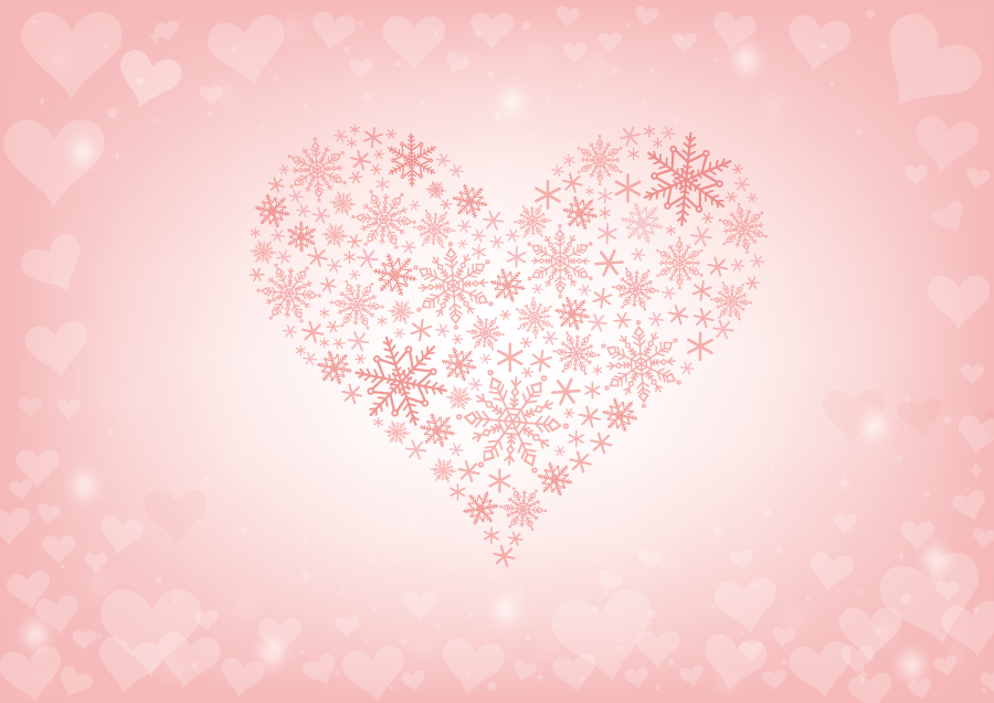フリーイラスト 雪の結晶のハートとピンク色のハートの背景