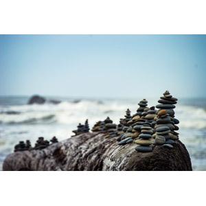 フリー写真, 風景, 海, 積み石(ケルン), アメリカの風景, ワシントン州