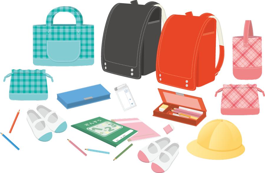 フリーイラスト 小学校の入学準備アイテムのセット
