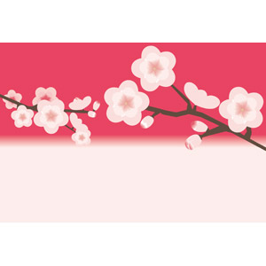 フリーイラスト, ベクター画像, AI, 背景, 花, 梅(ウメ), 枝, 春