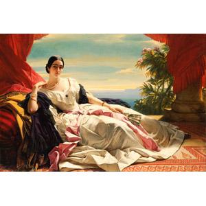 フリー絵画, フランツ・ヴィンターハルター, 肖像画, 女性, ドレス, 扇子, 横座り, 王女(プリンセス)