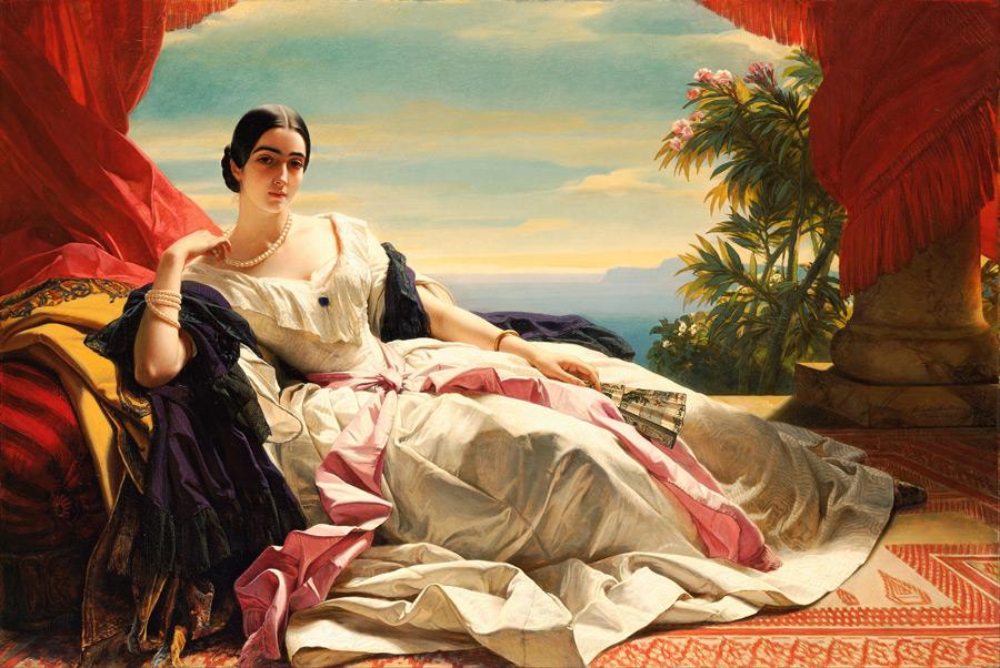 フリー絵画 フランツ・ヴィンターハルター作「ザイン・ヴィトゲンシュタイン・ザイン侯妃レオニラ・バリャティンスカヤの肖像」
