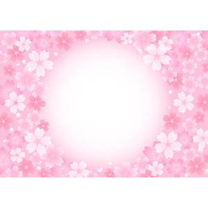 フリーイラスト, ベクター画像, AI, 背景, フレーム, 円形フレーム, 花柄, 桜(サクラ), 春, ピンク色, 花柄
