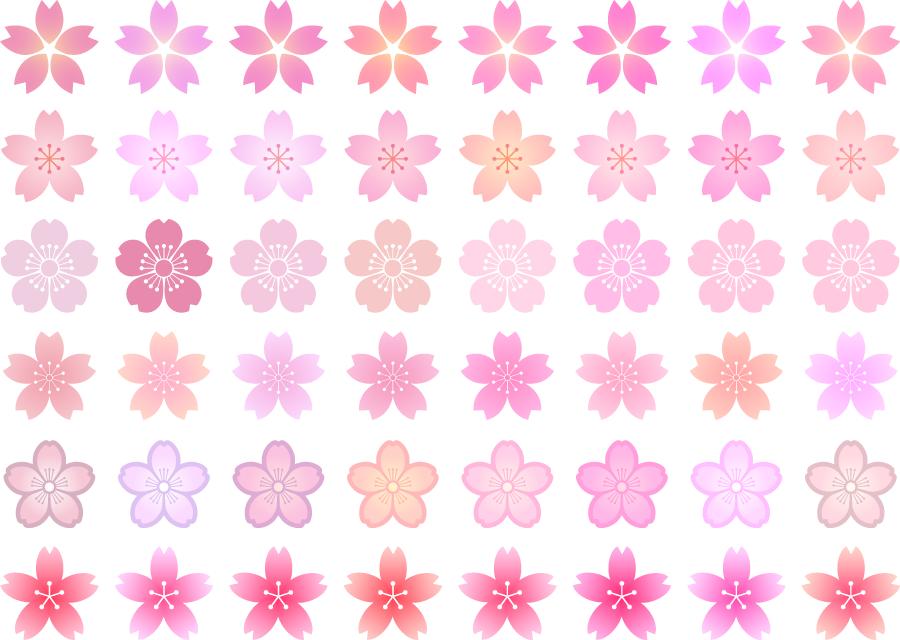 フリーイラスト 48種類のさくらの花のセット