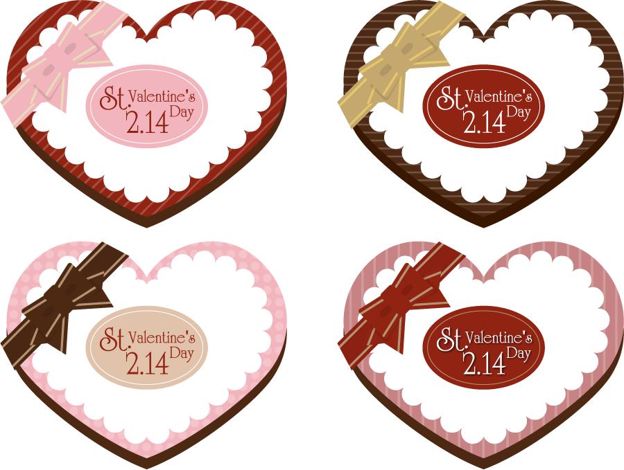 フリーイラスト 4種類のバレンタインデーのラベル