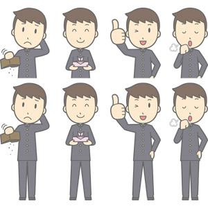 フリーイラスト, ベクター画像, AI, 人物, 少年, 少年(00130), 学生服, 学生(生徒), 高校生, 中学生, 学ラン, 財布, 貧乏, お弁当, サムズアップ, いいね(グッド), 咳払い