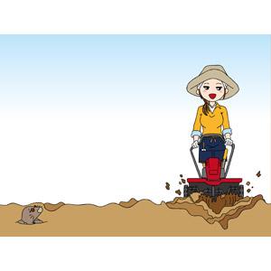 フリーイラスト, ベクター画像, EPS, 人物, 女性, 農業, 農家(農民), 畑, 耕運機, 耕作, モグラ