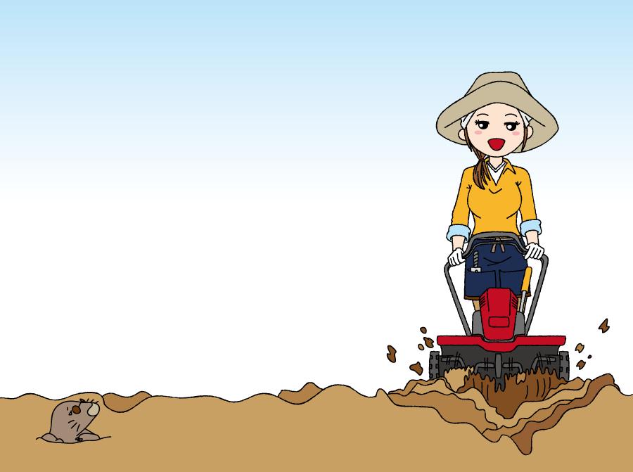 フリーイラスト 耕運機で畑を耕す女性