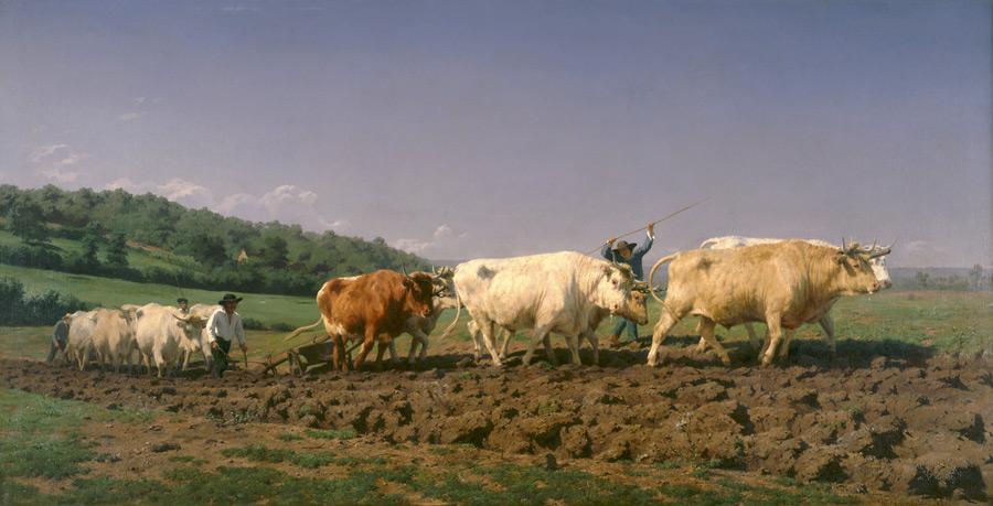 フリー絵画 ローザ・ボヌール作「ヌヴェール地方の農耕作業」