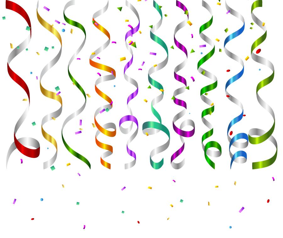 フリーイラスト カラフルな紙テープと紙吹雪の祝賀の背景