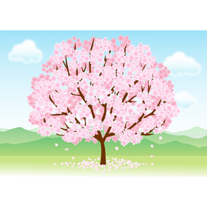 フリーイラスト, ベクター画像, AI, 風景, 自然, 樹木, 花, 桜(サクラ), ピンク色の花, 春