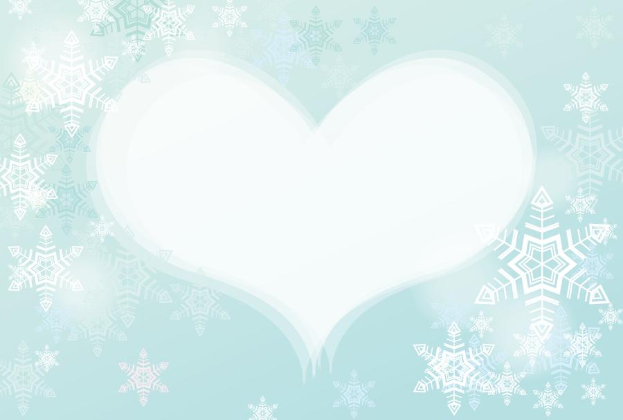 フリーイラスト 雪の結晶と白いハート型の飾り枠