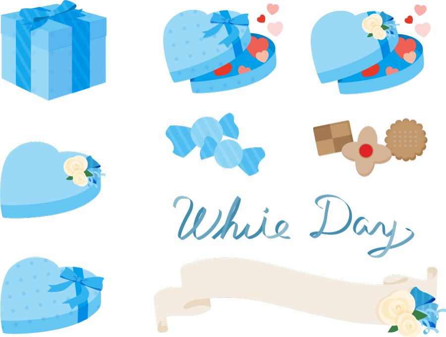 フリーイラスト ホワイトデーのプレゼントとお菓子のセット