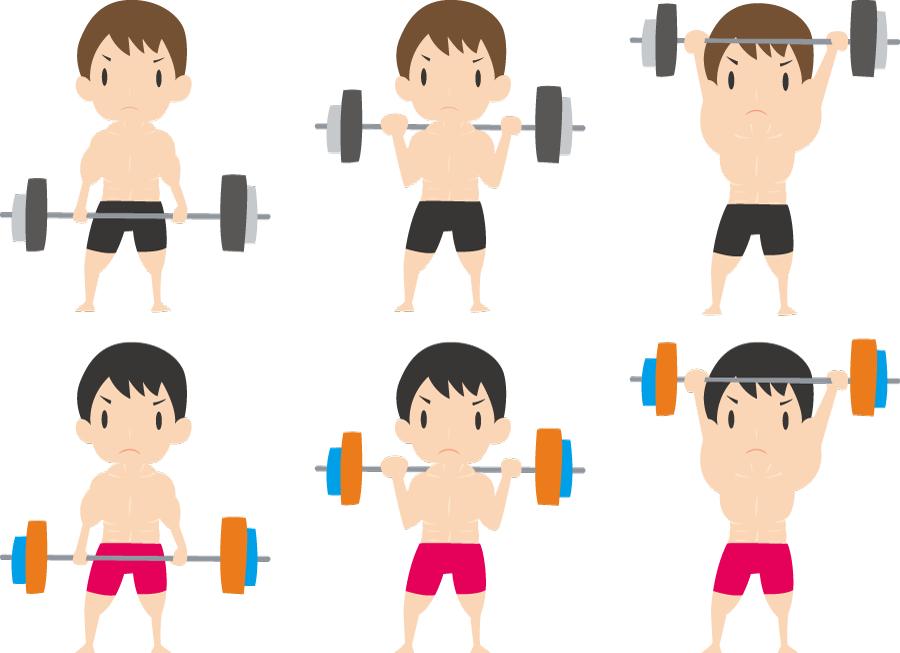 フリーイラスト 6種類のバーベルで体を鍛える男性のセット