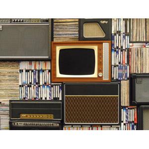 フリー写真, 家電機器, テレビ(TV), ブラウン管テレビ, オーディオ機器, ビデオテープ, カセットテープ, レコード