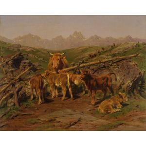 フリー絵画, ローザ・ボヌール, 動物画, 哺乳類, 牛(ウシ), 親子(動物), 子供(動物), 柵(フェンス), 牧畜