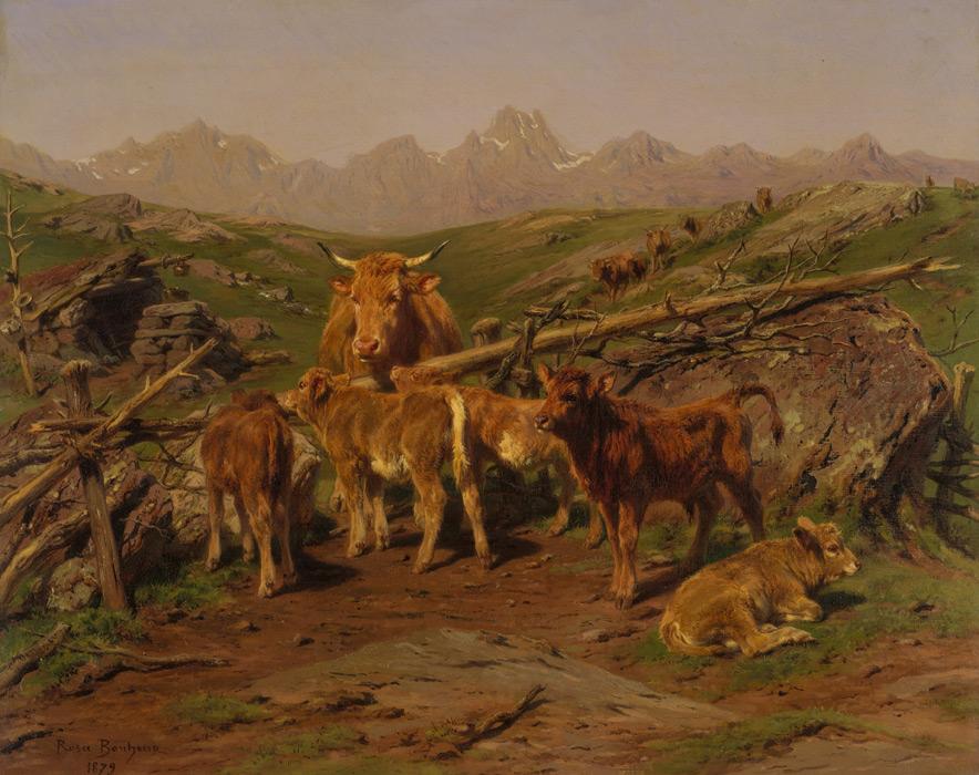 フリー絵画 ローザ・ボヌール作「仔牛たち」