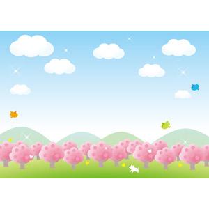 フリーイラスト, ベクター画像, AI, 風景, 自然, 樹木, 花, 桜(サクラ), 春, 青空, 小鳥, 犬(イヌ), 蝶(チョウ)