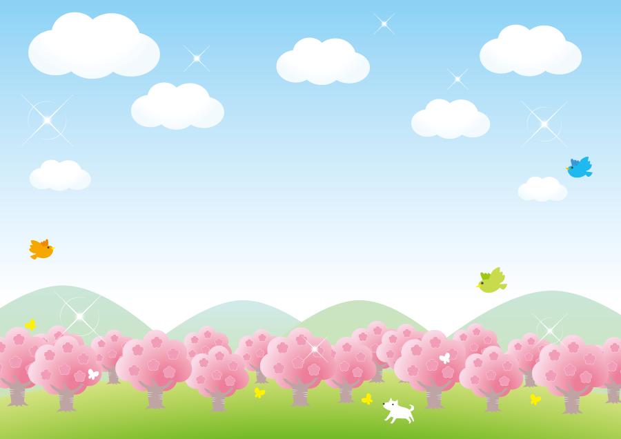 フリーイラスト 満開の桜の木々と鳥と犬のいる風景