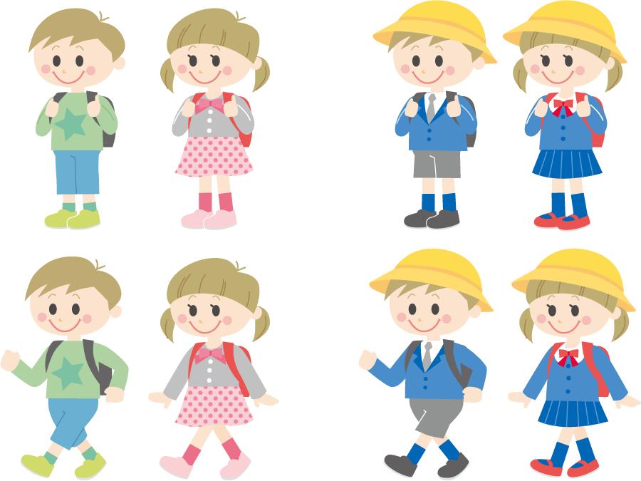 フリーイラスト 8種類の学校に通う小学生の男の子と女の子のセット