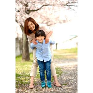 フリー写真, 人物, 親子, 子供, 息子, 二人, 春