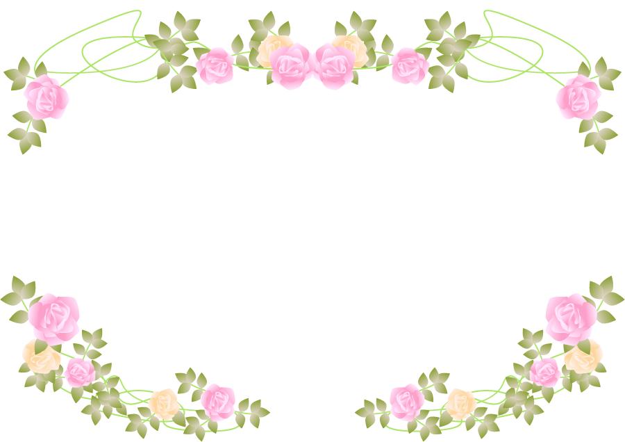 フリーイラスト バラの花の飾り枠