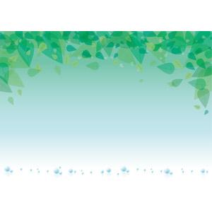 フリーイラスト, ベクター画像, AI, 背景, フレーム, 植物, 葉っぱ, 新緑, 水滴(雫)
