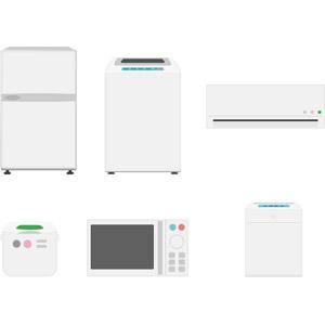 フリーイラスト, ベクター画像, AI, 家電機器, 冷蔵庫, 洗濯機, エアコン, 炊飯器, 電子レンジ, 空気清浄機, 調理器具, 洗濯