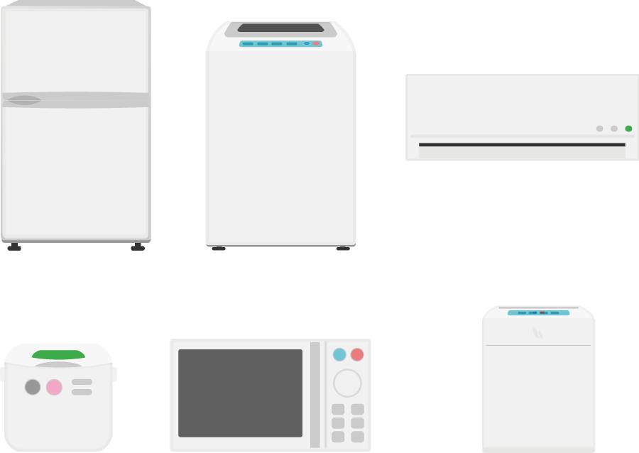 フリーイラスト 6種類の白物家電のセット