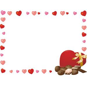 フリーイラスト, ベクター画像, AI, 背景, フレーム, 囲みフレーム, 年中行事, 2月, バレンタインデー, ハート, チョコレート, プレゼント箱