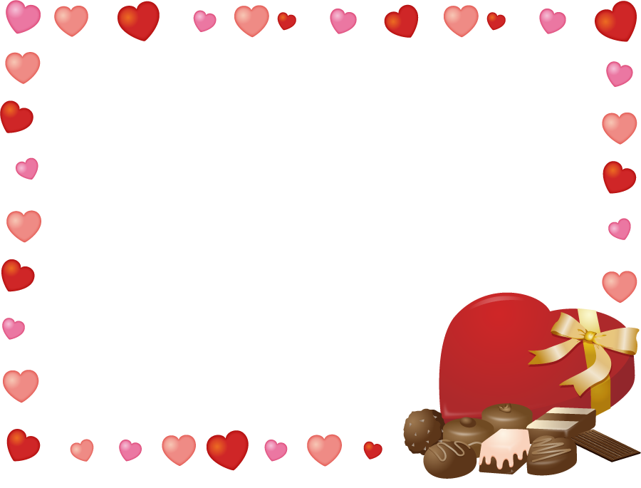 フリーイラスト バレンタインチョコとハートのフレーム