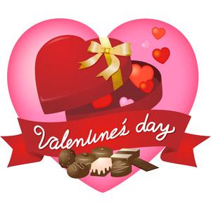 フリーイラスト, ベクター画像, AI, 背景, 年中行事, 2月, バレンタインデー, ハート, チョコレート, プレゼント箱, 帯リボン