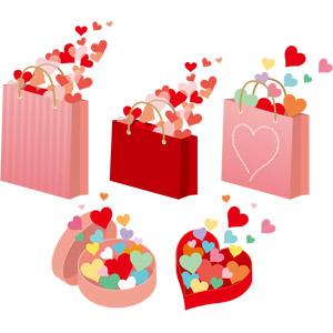 フリーイラスト, ベクター画像, AI, ハート, 紙袋, ショッピングバッグ, プレゼント箱
