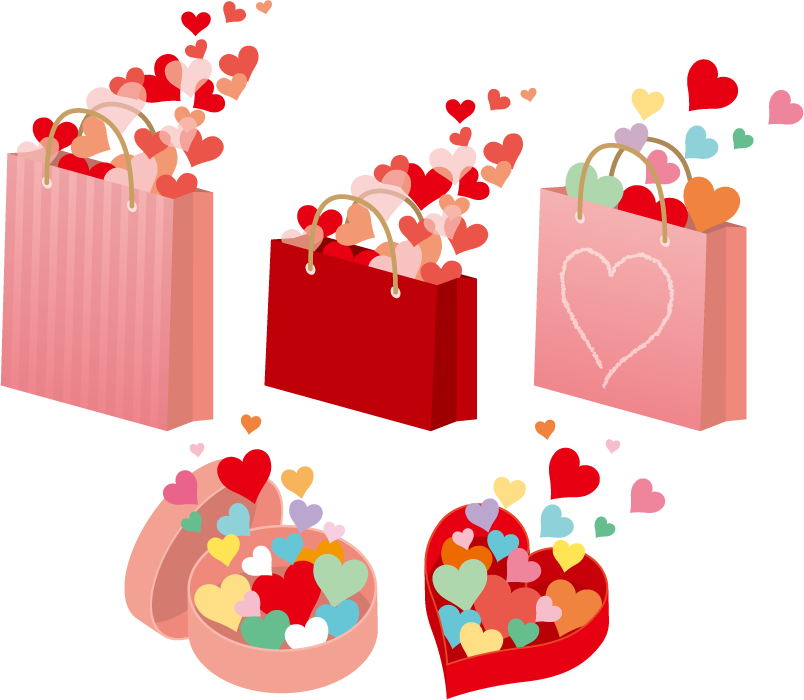 フリーイラスト ハートが溢れる紙袋とプレゼント箱のセット