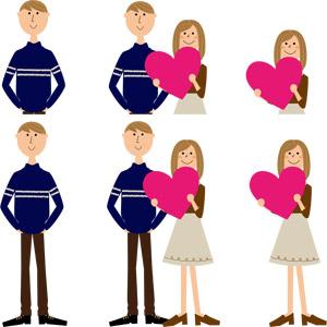 フリーイラスト, ベクター画像, AI, 人物, 女性, 男性, カップル, 恋人, ハート, 愛(ラブ)