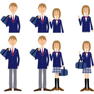フリーイラスト, ベクター画像, AI, 人物, 少女, 少年, 学生(生徒), 高校生, 学生服, ブレザー制服, ピースサイン(Vサイン), カップル, 恋人, 通学鞄