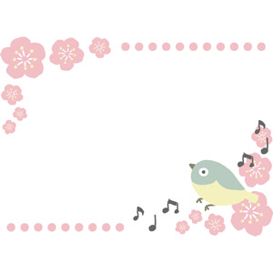 フリーイラスト, ベクター画像, EPS, 背景, フレーム, 上下フレーム, 花, 梅(ウメ), 春, 鳥(トリ), メジロ, 音符