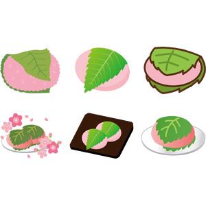 フリーイラスト, ベクター画像, AI, 食べ物(食料), 菓子, 和菓子, 餅菓子, 桜餅, 春, 桜(サクラ)