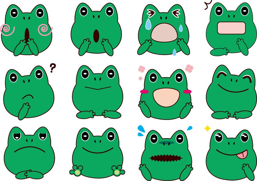 フリーイラスト 12種類のいろいろな表情のカエルのセット