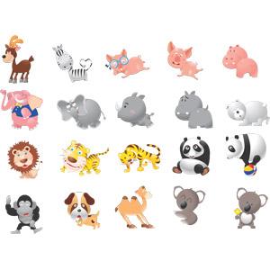 フリーイラスト, ベクター画像, SVG, 動物, 哺乳類, 鹿(シカ), シマウマ, 豚(ブタ), 象(ゾウ), 犀(サイ), 河馬(カバ), ホッキョクグマ(シロクマ), ライオン, 虎(トラ), ジャイアントパンダ, ゴリラ, 犬(イヌ), ラクダ, コアラ