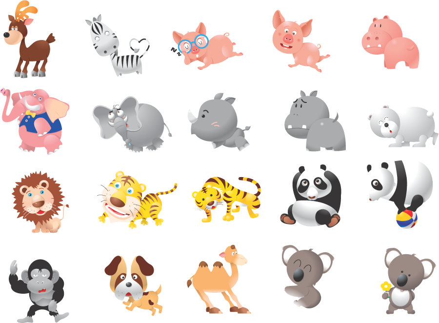 フリーイラスト ブタやパンダやトラなどの20種類の動物のセット