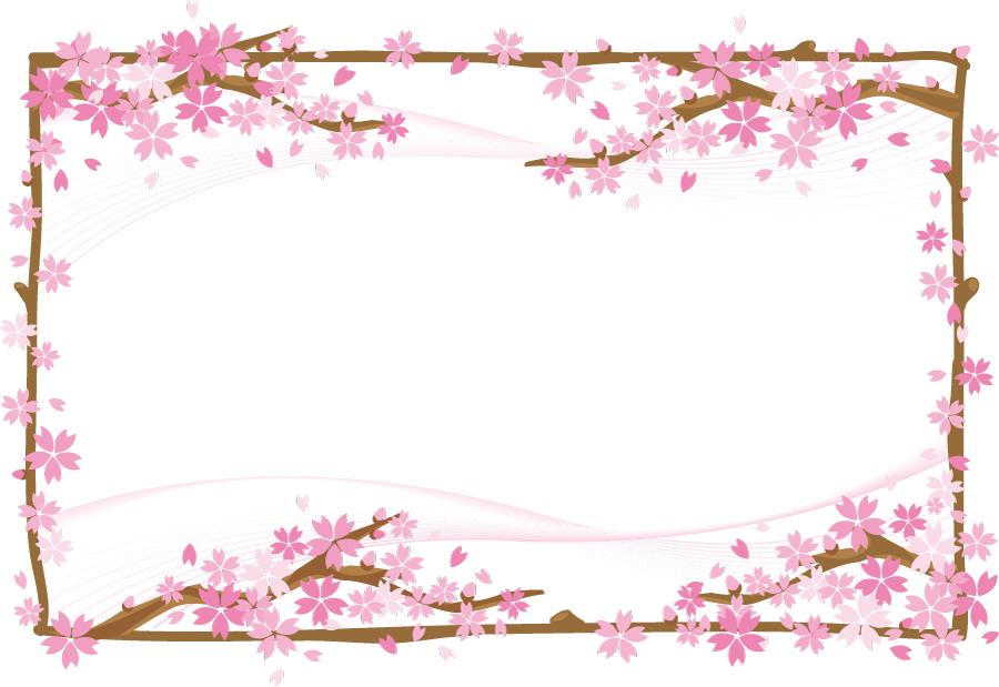 フリーイラスト 満開の桜の木の飾り枠