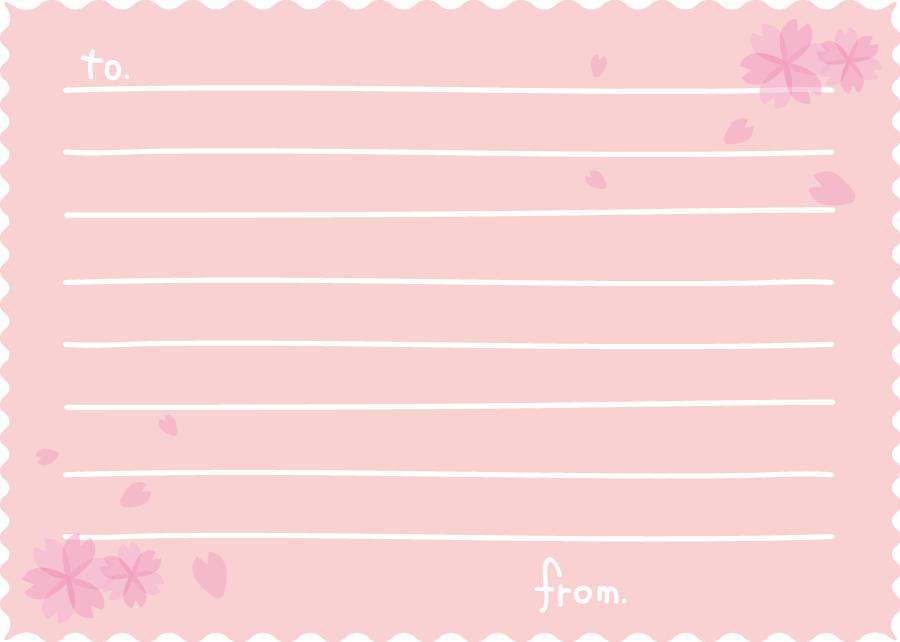 フリーイラスト 桜の花とメッセージカード